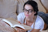 Sapphira - Studying With Glasses And A Book Naked 09-24